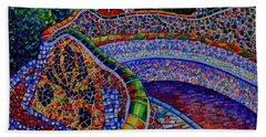 Barcelona Park Guell Sunrise Modern Impressionist Impasto Knife Oil Painting Ana Maria Edulescu Beach Towel