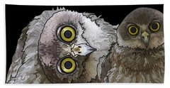 Barking Owls 2 Beach Towel