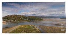 Barmouth And The Mawddach Estuary Aerial Panorama Beach Towel