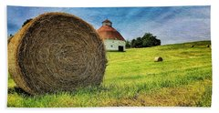 Beach Towel featuring the photograph Barn And Bales All Around by Andrea Platt