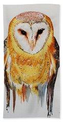 Barn Owl Drip Beach Towel