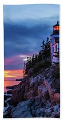 Bass Harbor Head Lighthouse At Twilight Beach Sheet