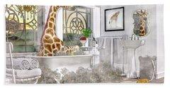 Bath Time Giraffe  Beach Towel