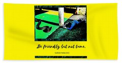 Beach Towel featuring the photograph Be Friendly But Not Tame by Judy Kennedy