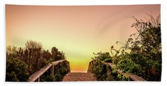 Beach Towel featuring the photograph Path Over The Dunes At Sunrise. by Jeff Sinon