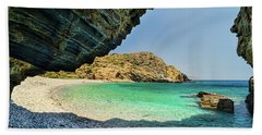 Beach Towel featuring the photograph Almiro Beach With Cave by Milan Ljubisavljevic