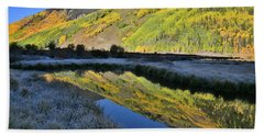 Beautiful Mirror Image On Crystal Lake Beach Sheet