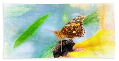 Beautiful Painted Lady Butterfly Beach Towel