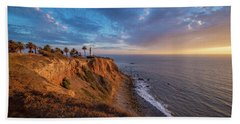 Beautiful Point Vicente Lighthouse At Sunset Beach Towel