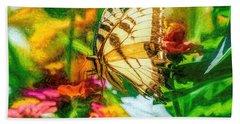 Beautiful Swallow Tail Butterfly Beach Towel