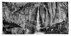 Beautiful Upper Falls In Black And White Beach Towel