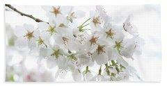 Beautiful White Cherry Blossoms Beach Sheet