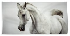 Beach Towel featuring the photograph Beautiful White Horse On The White Background by Dimitar Hristov