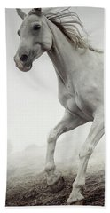 Beach Towel featuring the photograph Beautiful White Horse Running In Mist by Dimitar Hristov