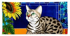 Beauty In Bloom - Savannah Cat Painting Beach Sheet