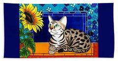 Beauty In Bloom - Savannah Cat Painting Beach Sheet