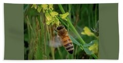 Beach Towel featuring the photograph Bee And Flower by Lora J Wilson