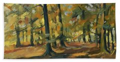 Beeches In Autumn Beach Towel