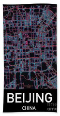 Beijing City Map Beach Towel