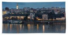 Beach Towel featuring the photograph Belgrade Skyline And Sava River by Milan Ljubisavljevic