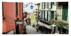 Beach Towel featuring the photograph Bellagio Steet, Italy by Dawn Richards