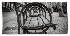 Beach Towel featuring the photograph Bench Circles by Steve Stanger