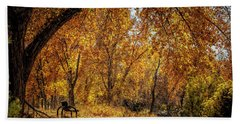 Bench With Autumn Leaves  Beach Sheet