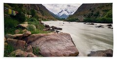 Beach Towel featuring the photograph Bhag River by Whitney Goodey