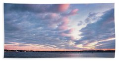 Beach Towel featuring the photograph Big Sky Over Portsmouth Light. by Jeff Sinon