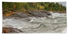 Big Waves In Autumn Beach Towel