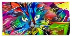 Big Whiskers Cat Beach Towel