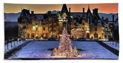 Biltmore Christmas Night All Covered In Snow Beach Towel
