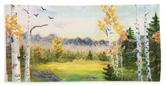 Birches By The Creek Beach Towel