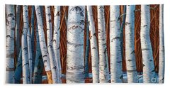 Birch Trees In Early Winter In Painting Beach Sheet