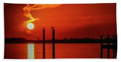 Bird On A Pole Sunrise Beach Towel