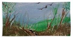 Birds Over Grassland Beach Towel