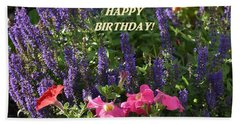 Birthday Flowers Beach Towel