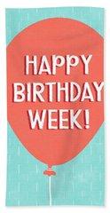 Birthday Week Red Balloon- Art By Linda Woods Beach Towel