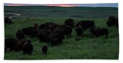 Bison At Sunset Beach Towel