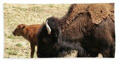 Bison In North Dakota Beach Towel