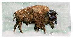 Bison In Snow Storm Beach Towel