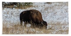 Beach Towel featuring the photograph Bison In The Snow by Pete Federico