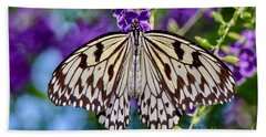 Black And White Paper Kite Butterfly Beach Towel