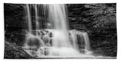 Black And White Photo Of Sheldon Reynolds Waterfalls Beach Towel