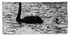 Black And White Swans Beach Towel