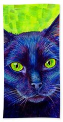 Black Cat With Chartreuse Eyes Beach Towel