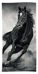Beach Towel featuring the photograph Black Horse Running Wild Black And White by Dimitar Hristov
