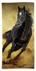 Beach Towel featuring the photograph Black Horse Running Wild by Dimitar Hristov