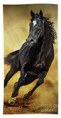 Beach Sheet featuring the photograph Black Horse Running Wild by Dimitar Hristov
