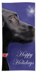 Black Labrador Retriever - Happy Holidays Beach Towel